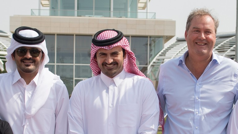 Sheikh Joaan (left), Al Shaqab general manager Khalifa al Attiya and Harry Herbert (right), pictured in Doha last year
