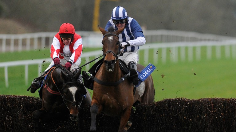 Monbeg Dude (left) survives a mistake at the last to win Coral Welsh National from Teaforthree five years ago