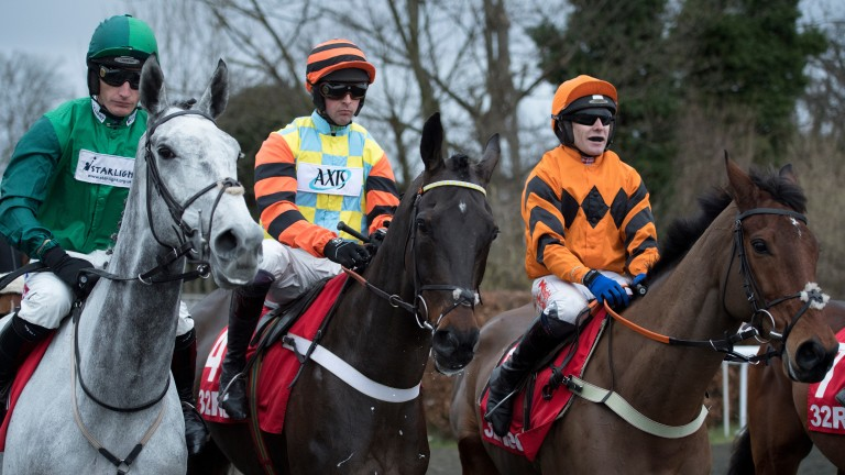 Thistlecrack (right) with Bristol De Mai (left) and Might Bite before the King George VI Chase at Kempton