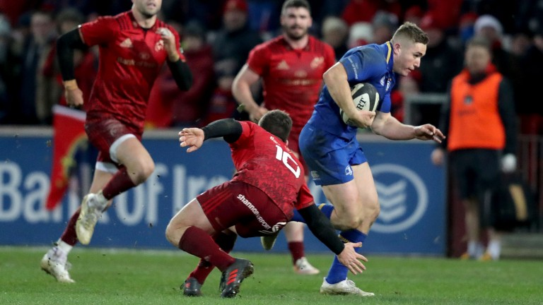 Leinster's Jordan Larmour in action against Munster