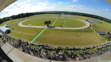 Towcester racecourse, with the greyhound track in the middle