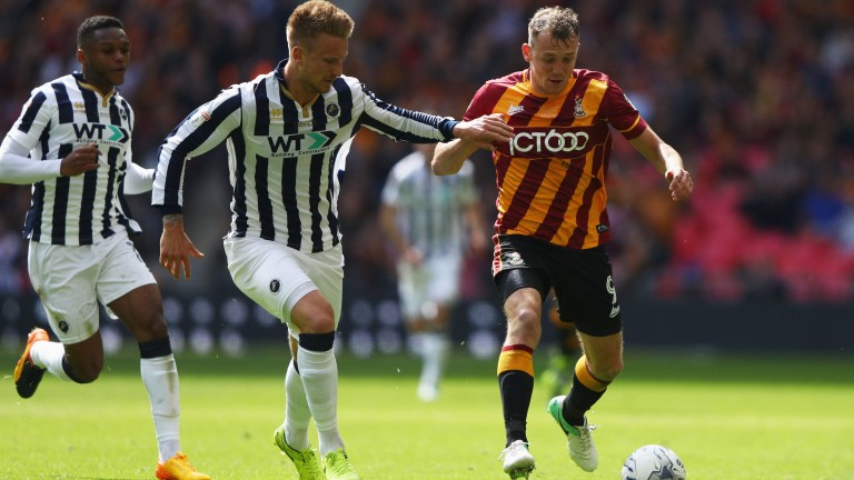 Charlie Wyke (right) has been in fine form for Bradford