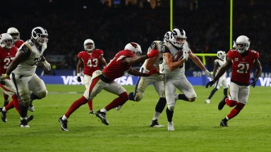 Cooper Kupp of the Los Angeles Rams scores a touchdown against Arizona at Twickenham