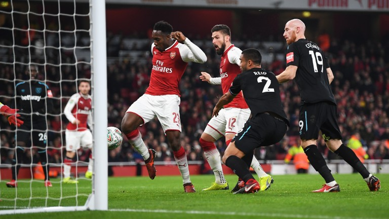 Danny Welbeck pokes in Arsenal's winner against West Ham in the EFL Cup quarter-final