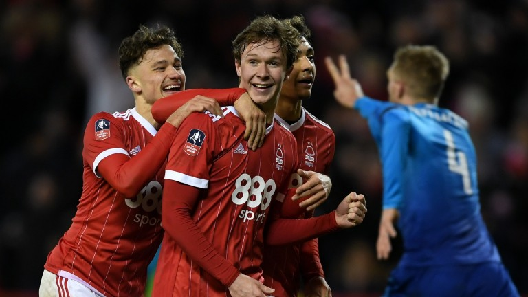 Kieran Dowell of Nottingham Forest celebrates scoring his team's fourth goal from the penalty spot