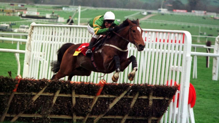 Istabraq and Charlie Swan jump the last on their way to winning the 1998 Champion Hurdle