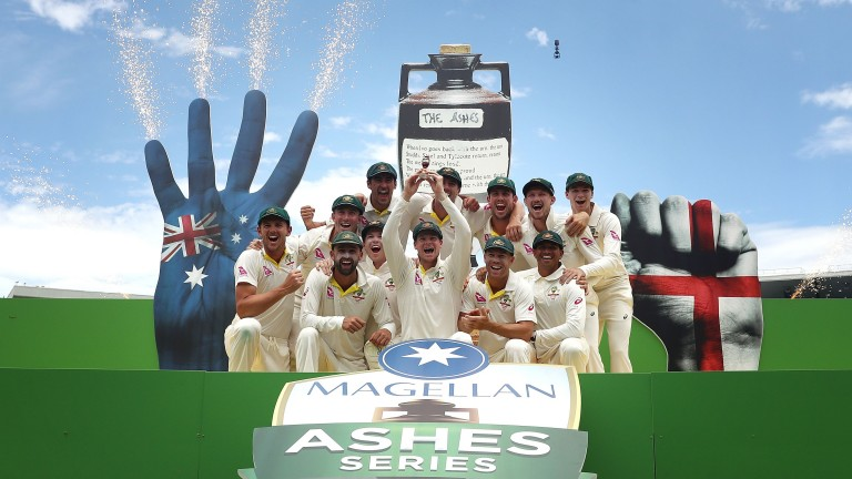 Australia enjoy their celebrations after a thumping win at the SCG