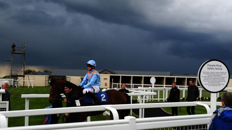 Storm clouds gather over Joe's Spirit at Bath in May but connections will be hoping for a sunny outcome now