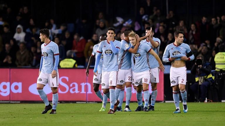 Celta Vigo celebrate scoring against Real Madrid