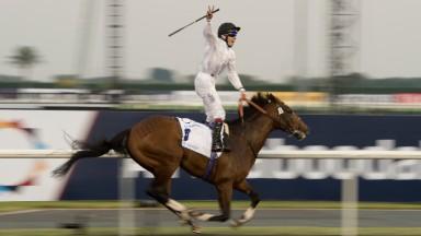 Jamie Spencer celebrates winning the 2014 UAE Derby on Toast Of New York