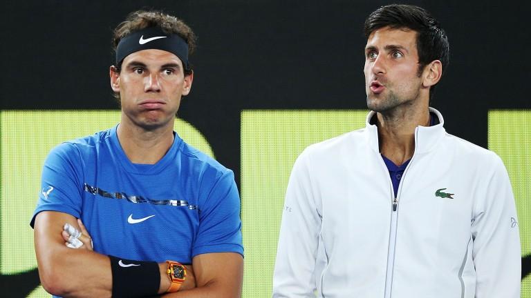 Rafael Nadal (left) and Novak Djokovic look riveted during the Tie Break Tens