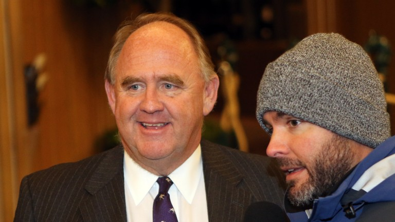 Keeneland vice president of racing and sales Bob Elliston (left) is all smiles after a strong Keeneland January Sale