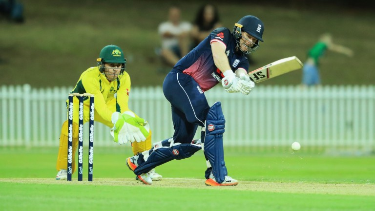 Eoin Morgan's 81 not out helped England to a warm-up victory in Sydney