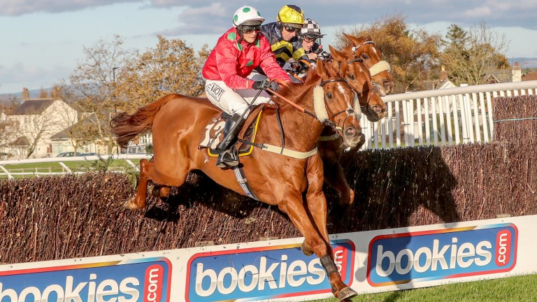 Topper Thornton (navy and yellow silks, centre) throws down a challenge to Harry The Viking at Carlisle in November