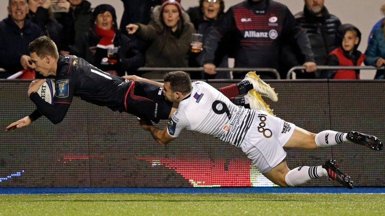 Saracens winger Liam Williams scores a try against Ospreys
