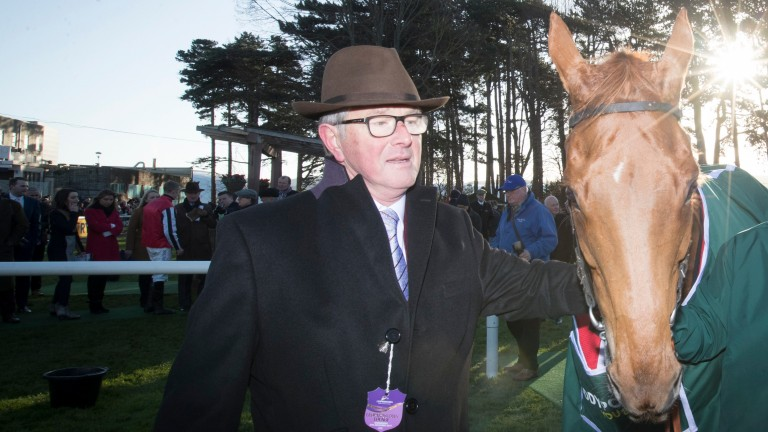 Owner David Robinson with Simply Ned after the horse was promoted to first in a Grade 1 at Leopardstown on the demotion of Min