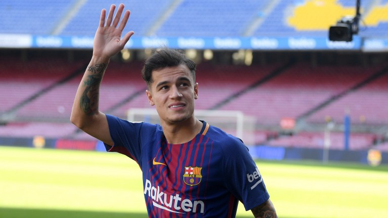 Barcelona's Philippe Coutinho is unveiled at Camp Nou
