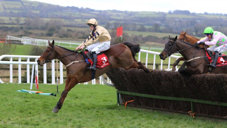 Invitation Only jump the last en route to winning the Grade 3 novice chase at Punchestown