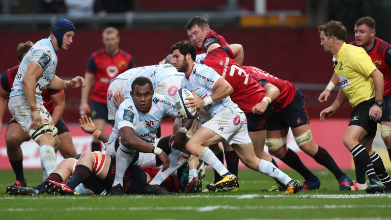 Racing scrum-half Maxime Machenaud on the break against Munster in round two