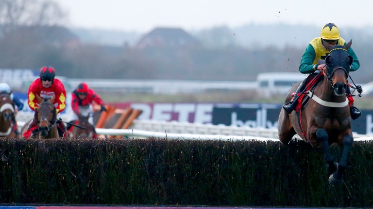 Milansbar and Bryony Frost safely negotiate the last before going on to win the Classic Chase