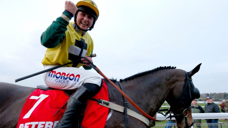 Bryony Frost celebrates after another big win, this time aboard Milansbar for trainer Neil King