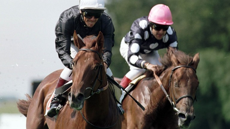 Dettori (left) scores on Atlantis Prince at Newmarket in August 2000 on his comeback ride following the plane crash