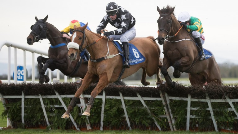 Dromore Lad (stars) jumps the last in front of Fitzhenry (hoops) before leading home a one-two for their sire in the 3m handicap hurdle at Fairyhouse