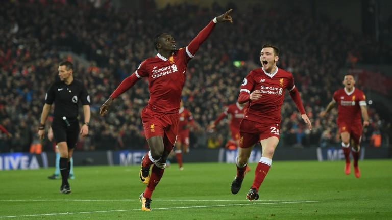 Sadio Mane of Liverpool celebrates against Manchester City