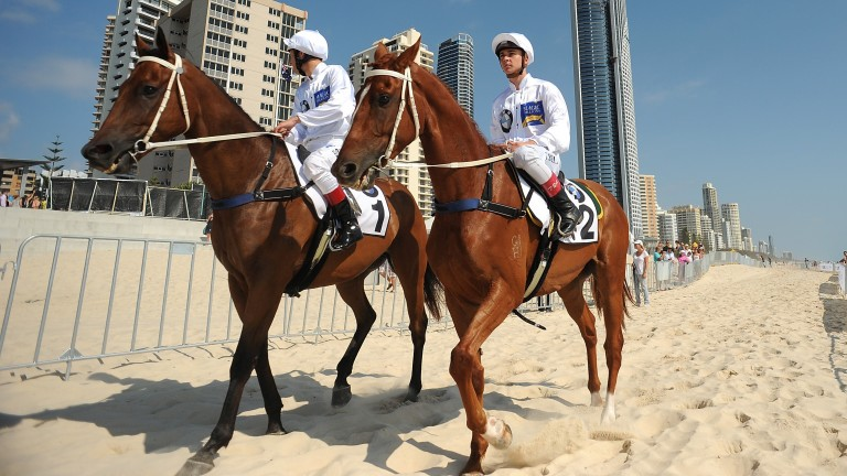 Jockeys Timothy Bell and Hugh Bowman at a photo call ahead of the Magic Millions Raceday official barrier draw at Surfers Paradise