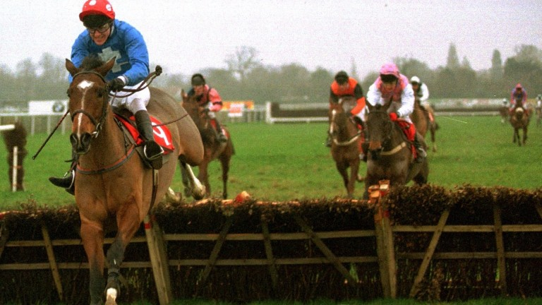 Warm Spell, ridden by a young AP McCoy, lands the 1996 Lanzarote Handicap Hurdle in the Ken Higson silks