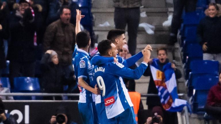 Espanyol celebrate Sergio Garcia's winner against Atletico