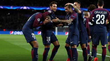 Kylian Mbappe and PSG teammates celebrate a Champions League goal