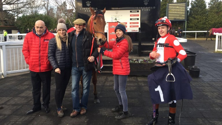 Owner Steve Jakes (left), trainer Phil McEntee and jockey Cameron Noble celebrate with Spare Parts