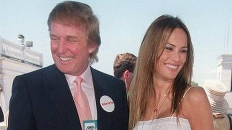 Donald Trump and future First Lady Melania Knauss attending the 1999 Kentucky Derby at Churchill Downs