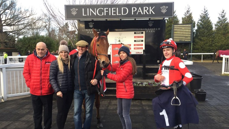 Spare Parts with owner Steve Jakes (left) and Cameron Noble (right) at Lingfield after win number four