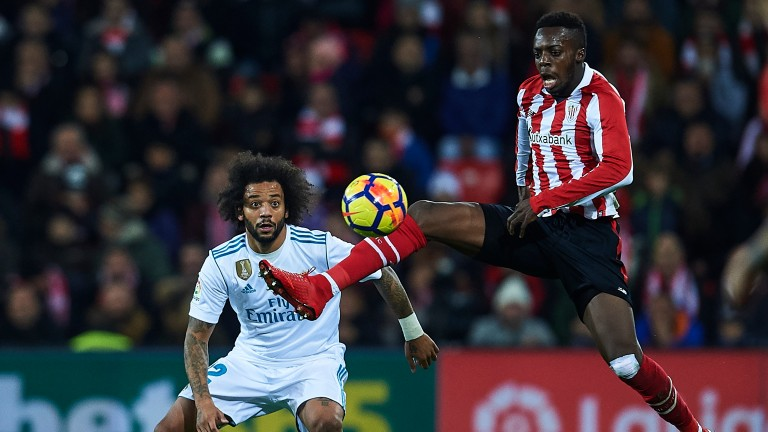 Inaki Williams battles for the ball in Athletic Bilbao's tussle with Real Madrid