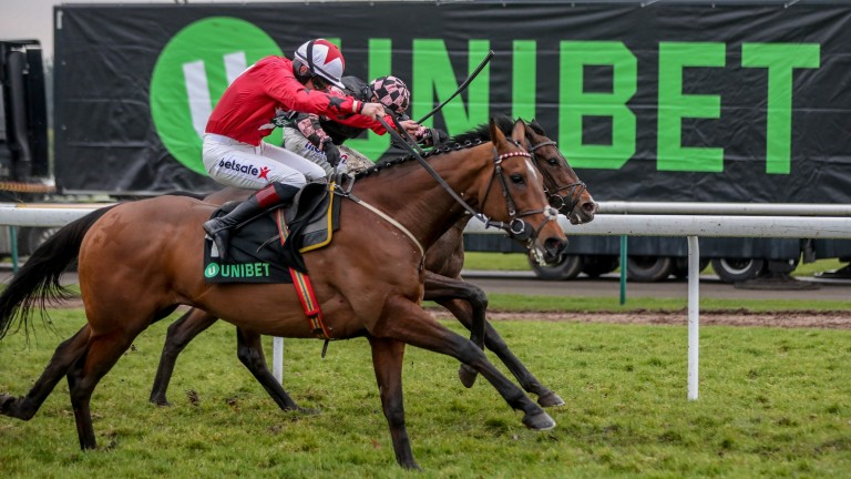 The New One (near side) battles back against Ch'Tibello in the Champion Hurdle Trial at Haydock