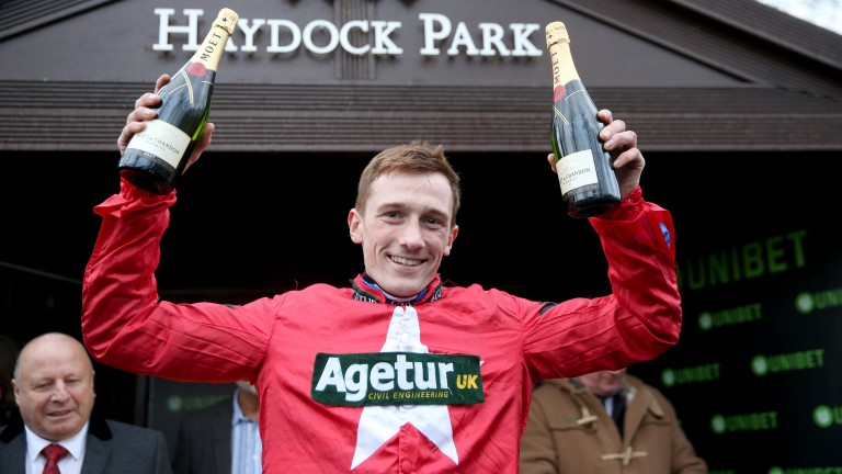 Sam Twiston-Davies celebrates The New One's fourth Champion Trial victory at Haydock