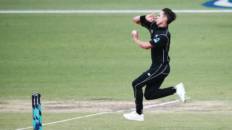 New Zealand's Trent Boult charges in during the ODI series
