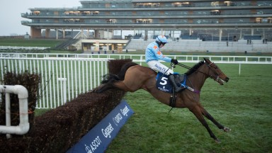 Un De Sceaux (Paul Townend) jumps the last fence and wins the Clarence House ChaseAscot 20.1.18 Pic: Edward Whitaker