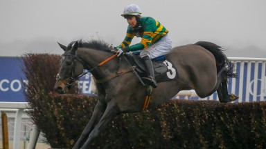Drumcliff and Miss Aine O'Connor win The Thames Materials Amateur Riders' Handicap Chase at Ascot