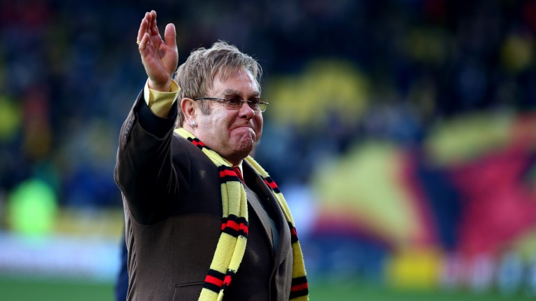 Sir Elton John at the unveiling of the stand named after him at Vicarage Road