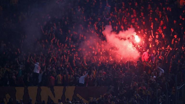 Galatasaray fans cheer on their team