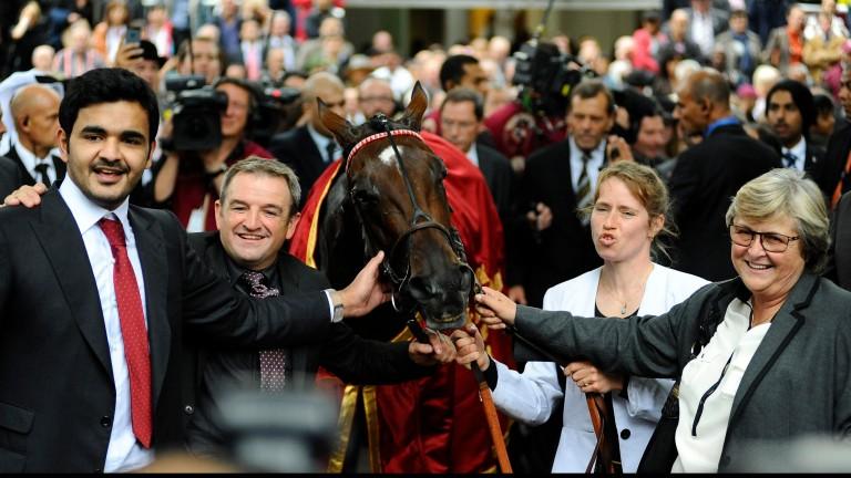 Criquette Head-Maarek (right) celebrates Treve's first Prix de l'Arc de Triomphe win in 2013