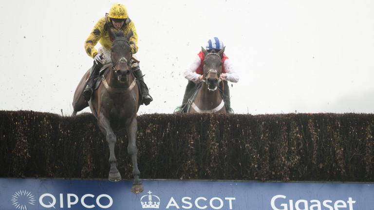 Acting Lass jumps the final fence on his way to completing a hat-trick at Ascot on Saturday