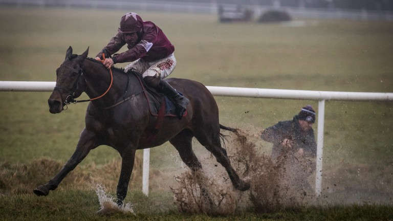 Not a place for pictures: one cameraman gets more than just a bit of mud in his direction as Dortmund Park and Davy Russell head for victory in the 2m6½f novice hurdle