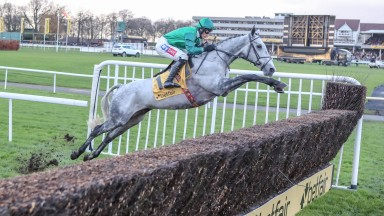 Bristol De Mai and Daryl Jacob clear a fence down the far side impressively on their way to a runaway win in in the Betfair Chase at Haydock
