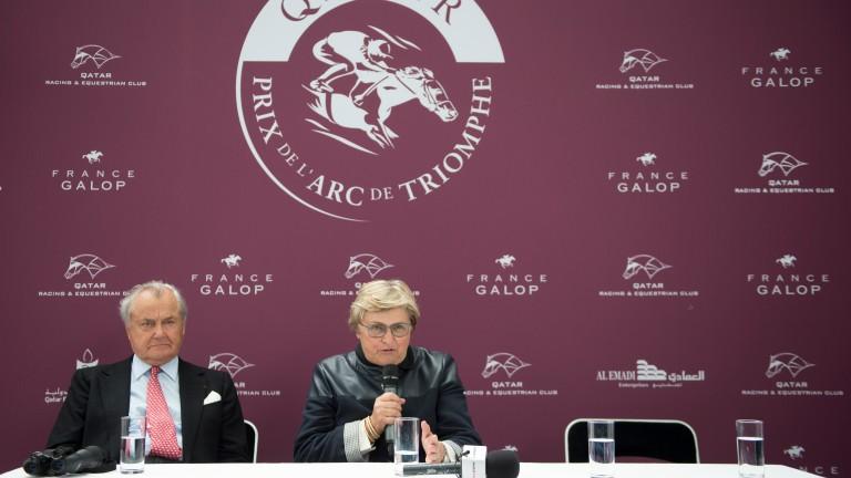 Alec Head and his daughter Criquette Head-Maarek after Treve's historic second win in the Qatar Prix de l'Arc de Triomphe