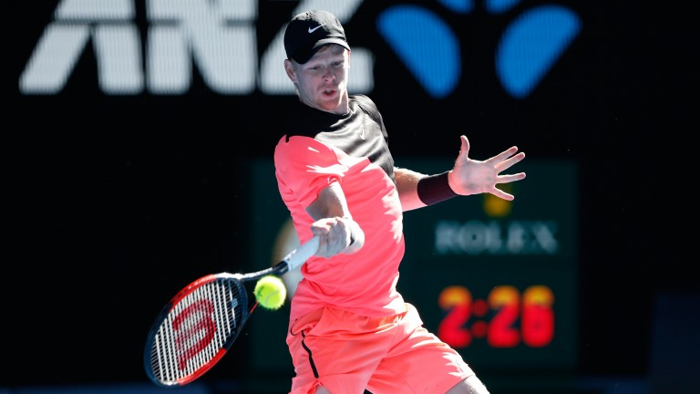 Kyle Edmund hits a forehand on the way to victory over Grigor Dimitrov