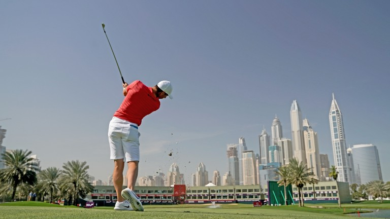 Rory McIlroy warms up in Dubai